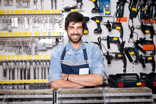 Worker at hardware store smaller